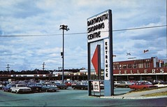 Dartmouth Shopping Centre, Nova Scotia (SwellMap) Tags: postcard vintage retro pc chrome 50s 60s sixties fifties roadside midcentury populuxe atomicage nostalgia americana advertising coldwar suburbia consumer babyboomer kitsch spaceage design style googie architecture mall shop shopping plaza