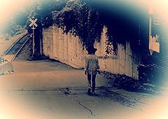 Once Upon A Summertime (Professor Bop) Tags: profesorbop drjazz olympusem1 bellowsfallsvermont vt woman female road street railroad railway tracks railroadcrossing sign