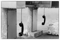 Off the Hook - NYC (gastwa) Tags: nikon f6 afs nikkor 58mm f14g prime ilford hp5 plus film analog black white blackandwhite bw monochrome scenery landscape newyork nyc travel andrew gastwirth andrewgastwirth phone booth street bokeh