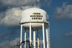 York Business Center water tower (SchuminWeb) Tags: schuminweb ben schumin web july 2016 pennsylvania pa york county business center yorkbusinesscenter water tower towers watertower watertowers infrastructure infra structure infrastructural structural white cloud clouds cell phone mobile communications partly cloudy