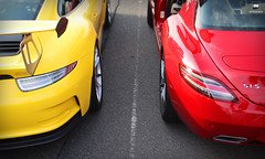 GT3RS VS SLS (Roman Mose) Tags: cars car auto automotive meet street parking lot coffee carscoffee supercars icons icon sports fast park two 2 red yellow sls mercedes gullwing 300sl amg german porsche gt3 gt3rs wing race versus