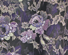Purple and silver flowers embroidered on tulle (Monceau) Tags: purple silver flowers embroidered tulle texture pattern flower design