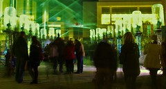 Movement (Ruby Nixon) Tags: longbridge light fest festival lights lighting green art structure world war memorial people city street photography movement blur motion capturing capture blurry birmingham color colour colors shutter speed long one two i ii rays strobes