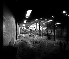 Collapsed warehouse. (blairniemichelle) Tags: art ambiance atg abandonee abandone abstrait entrepot explore explorer entre entrance rouille reflet reflexion tracedirect terrain urbex mur lumire aurore nuit idf incendie industrial nightshootingphotos noir noiretblanc night paris photodenuit sombre sky de decay degrade dgrad fenetre graffiti graff hombre shadows collapsed warehouse crepuscule black white light monochrome silhouette figure outline outlines mono