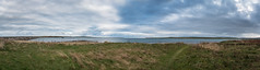 Eastern Panorama (MBDGE) Tags: orkney panorama lightroom canon 70d seascape wave sea sky water grass blue green path worn scotland alba ik europe northsea northernisles clouds churchillbarriers ww2 blockships lambholm burray twothirds