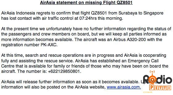AirAsia QZ8501 Missing : Press Statement by Indonesian Officials
