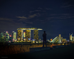 012_Addled Angels_Deep Wanderer (SLHahnn) Tags: world city nightphotography blue sky people urban white man yellow architecture backlight night clouds zeiss marina 35mm concrete lights stand back singapore cityscape district sony deep vivid explore angels figure behind solitary wander finance cityview marinabarrage 365project gardensbythebay rx1r addledangel addledangels slhahnn