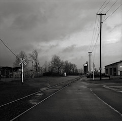 Portland (austin granger) Tags: city railroad morning film america train square portland crossing flag tracks headlights gf670 austingranger trainyardfremontbridge