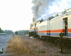 American Freedom Train,  ACL history (clarkfred33) Tags: history steam 1976 clearwater aft southernpacific steamlocomotive railroadyard sp4449 railroadhistory vintagephotograph bicentenial railroadswitch americanfreedomtrain railroadscene aclhistory daylightlocomotive