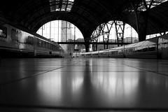 (amandagz) Tags: barcelona blanco station metal train tren blackwhite negro espejo reflejo symmetric metall blanc negre estacin estaci reflexe efecto efecte efect
