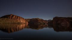 Canyon Lake Glass_SMB1259 (steve bond Photog) Tags: arizona reflection glass nighttime waterscape canyonlake wideopen moonlite seetheworld beyondwords fotodiox starsinthesky nikond810 dontwastetime nikon1424f28 moonlitesky wonderpana