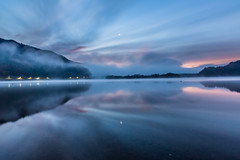 Morning Fog  (Sharleen Chao) Tags: morning travel moon lake reflection fog sunrise landscape           lakeshoji foggyscene