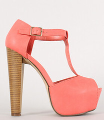 "leatherette buckle t strap peep toe grapefruit • <a style=""font-size:0.8em;"" href=""http://www.flickr.com/photos/64360322@N06/16164202770/"" target=""_blank"">View on Flickr</a>"