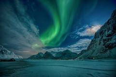 Polarlicht (swissgoldeneagle) Tags: winter cloud moon green norway night clouds mond nacht skandinavien norwegen aurora d750 moonlight grün scandinavia lofoten gruen auroraborealis borealis polarlights nordland polarlicht flakstad nordlicht mondlicht polarlight polarlichter nordlichter