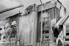 R2-E042 (David Swift Photography Thanks for 14 million view) Tags: film ice philadelphia 35mm buildings fire frozen westphiladelphia kodaktrix burned ladders yashicat4 davidswiftphotography