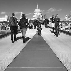 Millennium Bridge (And Smith) Tags: street blackandwhite london strangers millenniumbridge streetphoto londonpeople fujifilmhs50exr