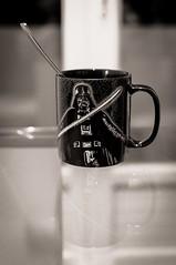 "45/365 ""A simple life"" PROJECT - coffee time chocolate time ? (Silverfenx / silverfenx.com) Tags: white black dark star noir bokeh spoon reflet reflect darth mug wars et blanc vador"