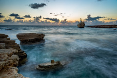 Edro III Shipwreck (DemetrisVa) Tags: sunset sea sky seascape clouds landscape rocks long exposure waves ship caves shipwreck paphos peyia edro3