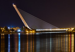 Alamillo Bridge Reflected (Michael Echteld) Tags: city longexposure nightphotography bridge summer espaa sevilla spain sony seville fullframe santiagocalatrava captureonepro a7ii alamillobridge canaldealfonsoxiii michaelechteld michaelaechteld ilce7m2 michaelechteldphotography