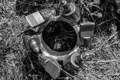 Sampling the subsurface: 3 of 10 (bflinch1) Tags: blackandwhite monochrome grass metal equipment research phd bit drilling photostory auger drillbit universityofwyoming phdresearch waterresearch wycehg