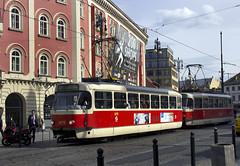 Prague DPP Tatra TR3.PV-type cars 8172+8171 outside the Palladium shopping centre at Nmst Republiky on 22 April 2016 (A Scotson) Tags: tr3pv tatra tatrat3 czechrepublic tram dpp prague praha nmstrepubliky shoppingcentre palladium