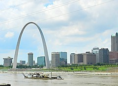 Gateway Arch (dnborgman) Tags: mississippi arch river barge tugboat stlouis missouri skyline city shore riverfront