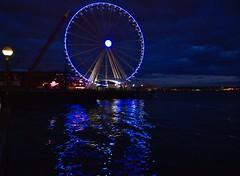 Ferris Wheel, Pike Place Market, Seattle ~ Explored ~ (shireye) Tags: pikeplacemarket seattle wa washington usa nikon d610 24120 ff fullframe fx ferriswheel reflections nightlights blue explored night bluelights