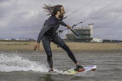 Carmarthenshire Kitesurfer (Lloyd - Green) Tags: kitesurfing kites kiteboard watersports waves water wind carmarthenshire llanellibeach wales canon canon1dxmk2 canonef2470mmf28lens
