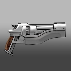 Iris' bigass revolver (justin pyne) Tags: justin pyne damnsol iris revolver comic webcomic series online free sci fi science fiction fantasy brood holy nation gun weapon concept art painting drawing