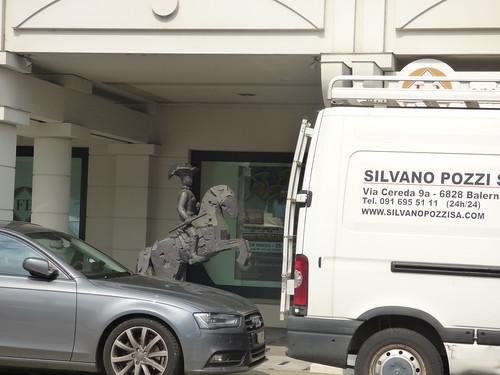 Lugano City Tour - Riva Antonio Caccia, Lugano - bronze statue - man on a horse