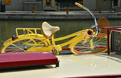 Yellow Bicycle (dr_marvel) Tags: yellow bicycle pittsford ny newyork water canal erie eriecanal rochester travel vacation wheels tires