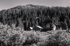 Original House (Scosanf) Tags: colorado coloradotrails historic ghosttown mining old abandoned decay blackandwhite bw monochrome outdoor trees sky mountains rockymountains sanjuanmountains canon eos 6d ef2470mmf28lusm topazlabs travel trip summer vacation