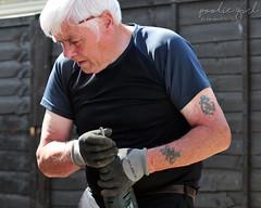 Day 6 - A Bit Stuck! (PoolieGirl) Tags: summer 2016 workman work man tool drill bit gloves tattoo pencil diy garden