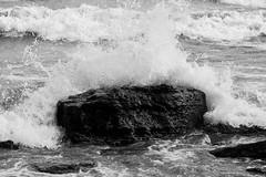 Erie Wave (K.G.Hawes) Tags: coast erie greatlakes lake lakeerie rock rocks rocky splash splashing water wave waves black white blackandwhite bw monochrome monochromatic