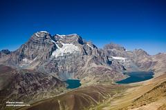 Mt. Harmukh with Nundkol (left) and Gangbal lakes, Jammu & Kashmir (Bharat Baswani) Tags: blue sky mountain day bright great lakes pass twin sunny glacier clear alpine kashmir himalayas jammu glacial harmukh gangabal gangbal nundkol nandkol