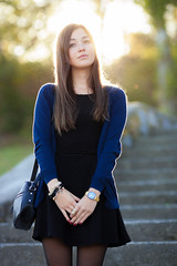 IMG_2330_f_500 (Serge Zap) Tags: park blue autumn portrait woman brown color cute girl beautiful leaves lady female stairs hair season outside outdoors happy one pretty looking dress adult watches candid young longhair posing lifestyle tights calm blouse foliage attractive bracelet casual brunette emotional retouch hairstyle pantyhose caucasian