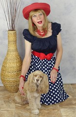 DSC03724 (msdaphnethos) Tags: red dog stockings hat tv pumps cd tgirl transgender polkadots blonde transvestite bracelet heels hosiery rockabilly spaniel pup pooch transgendered pantyhose doggie mallory nylons daphnethomas