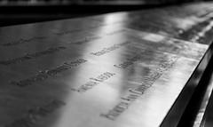 (lkaloti) Tags: nyc newyorkcity blackandwhite newyork fountain geotagged dof manhattan worldtradecenter depthoffield names lowermanhattan lightroom 911memorial worldtradecentersite reflectingabsence 1wtc canon6d nationalseptember11memorialmuseum oneworldtradecenter onewtc