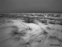 Snowy St. Joseph - Explore (mswan777) Tags: sunset bw white snow seascape black beach nature monochrome grass landscape michigan sony scenic ansel