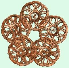 5 Knots /  (TANAKA Juuyoh ()) Tags: texture design 3d code cg pattern graphic knot structure symmetry figure program mapping algorithm mathematica  abstruct         parametricplot3d