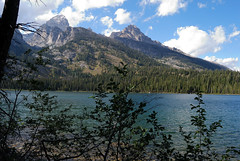 Bradley Lake (mike_jacobson1616) Tags: blue trees sky mountain lake mountains water clouds forest nationalpark turquoise wilderness peaks tetons alpinelake grandteton tetonrange grandtetonnationalpark bradleylake