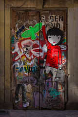 The Girl and the Parakeet (NykO18) Tags: barcelona people españa bird art girl animal children person graffiti spain mural europe child parrot catalonia parakeet manmade catalunya tagging gothicquarter cataluña barrigòtic