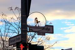 Berliner Korkfigur (Robert.B. Photography) Tags: road sky berlin sign clouds himmel wolken schild strase streetnamesign strasennamenschild