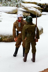 Soldiers Conversing (Polish Madman) Tags: snow man yard gijoe toy 40th soldier army back backyard doll m1 action anniversary military police joe collection mp 50th timeless gi snowdrop hasbro actionman palitoy