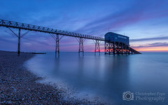 Selsey Life boat Station - West Sussex - Explored 7/3/15 (Christopher Pope Photography) Tags: longexposure bridge pink sea sky seascape sunrise dark dawn pier nikon purple jetty bluehour lowtide colourful selsey goldenhour 2015 lifeboatstation nikond610