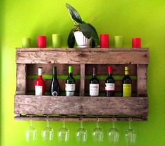 Rustic Pallet Wine Rack (irecyclart) Tags: art design wine rustic livingroom winerack partydecor homedcor repurposedpallet palletdecoration palletwinerack palletdiyideas