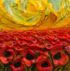 WF24X24-2016-148 (Justin Gaffrey) Tags: poppies poppyfield flowers wildflowers florals art painting artist justingaffrey acrylicpaint nature red gold 30aart 30a sowal florida floridaart