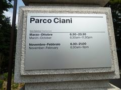 Parco Ciani - Lugano - opening times (ell brown) Tags: lugano switzerland ticino italianlakedistrict lakelugano lagodilugano glaciallake luganocentro tree trees rivagiocondoalbertolli vialecarlocattaneo parcocivico civicpark parcociani sign openingtimes