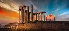 Longing for Eternity (Pietro Faccioli) Tags: portugal évora evora temple roman ancient diana architecture perspective columns sundown sunset cloudy dramatic colourful colorful evening winter stone millennia time ruins church sunlight shadows pietrofaccioli faccioli pietro
