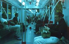 Subte Ahh (Barcoborracho) Tags: kodakultramax400 yashicaelectro35gsn telemtrica rangefinder subte metro subway tren subtea bsas mujer 35mm interior analgicos streetphotography focomanual f17 kodakfilm vintage buenosaires manualfocus